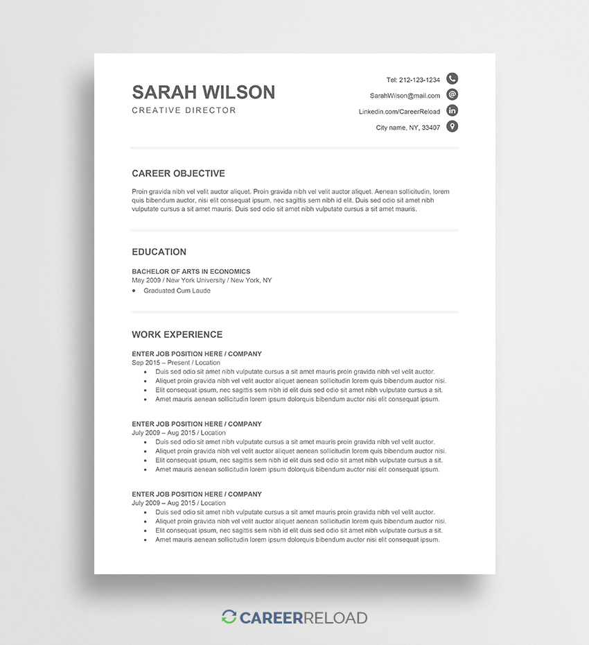 free entry level cv template sarah career reload resume current samples maintenance Resume Entry Level Resume Template