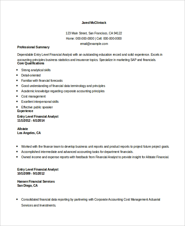 free entry level resume samples in ms word pdf financial analyst example certified Resume Entry Level Resume Samples