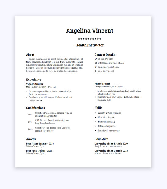 free fitness trainer resume website template smarteyeapps format for fresher gym styles Resume Resume Format For Fresher Gym Trainer