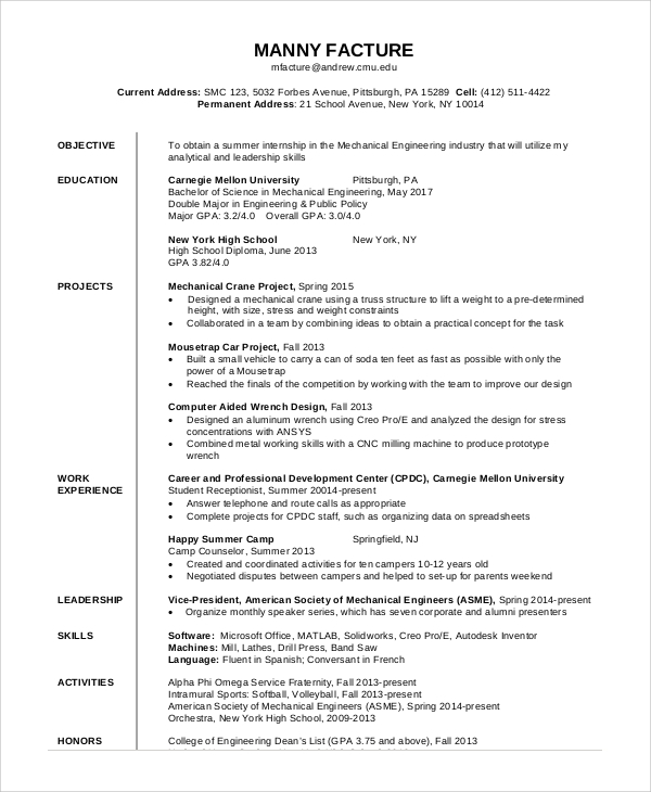 free general resume objective samples in pdf mechanical engineering engineer device jira Resume Mechanical Engineering Resume Objective