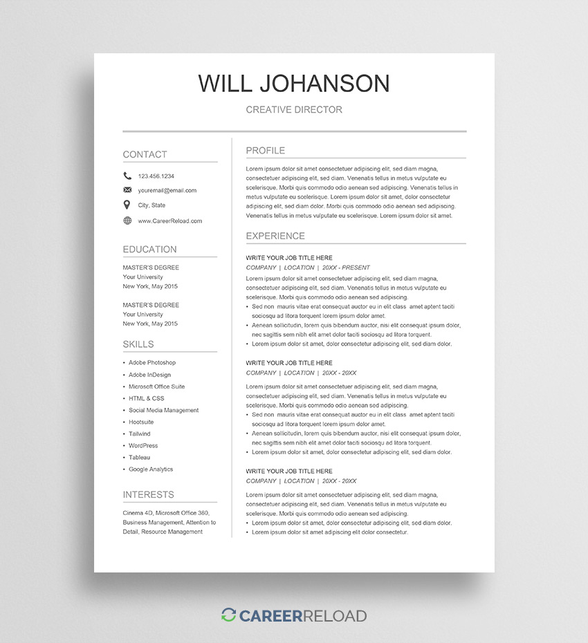 free google docs resume template career reload good templates leasing manager format for Resume Good Resume Templates Google Docs