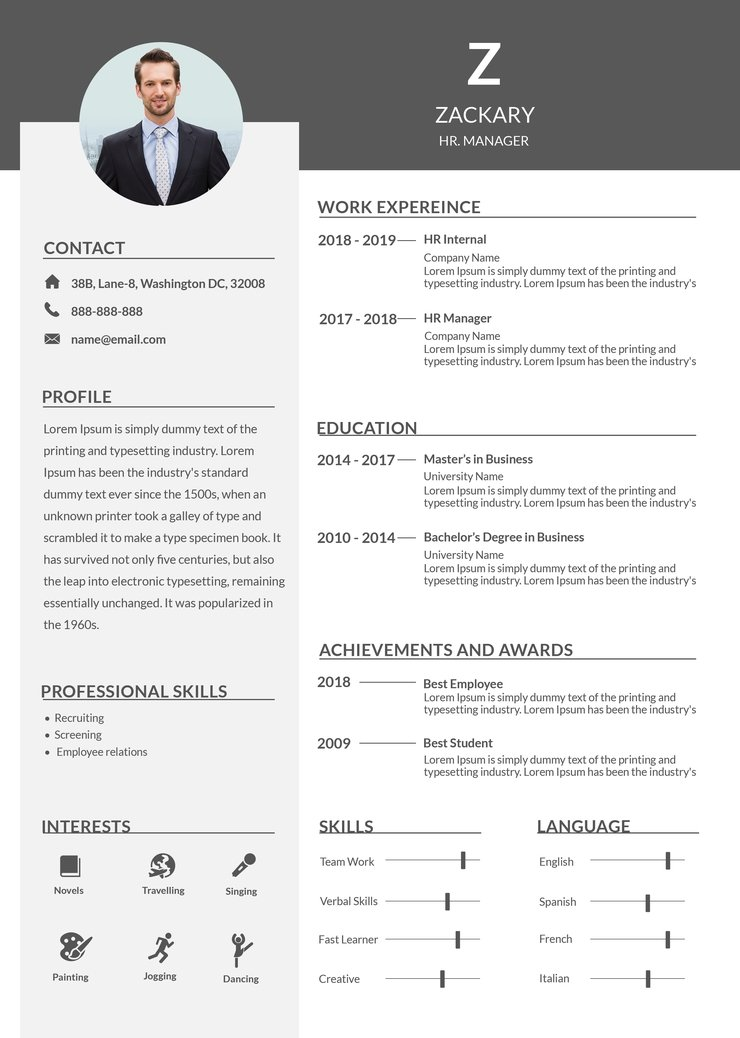 free hr manager resume cv template in photoshop microsoft word creativebooster 740x1038 Resume Manager Resume Template Word