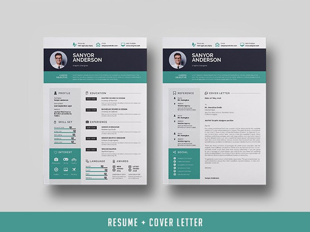 free infographic indesign resume template with cover letter manual testing health and Resume Indesign Resume Template