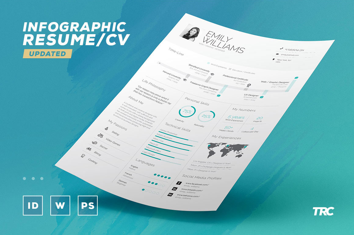 free infographic resume cv template in indesign word pdf format good infograpic and Resume Indesign Resume Template