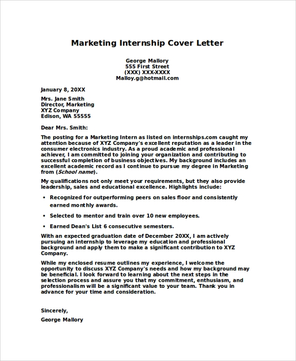free internship cover letters samples in pdf ms word letter for resume marketing bio Resume Cover Letter For Resume Internship