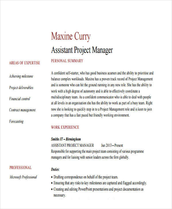 free manager resume templates in pdf assistant project sample professional template put Resume Assistant Project Manager Resume