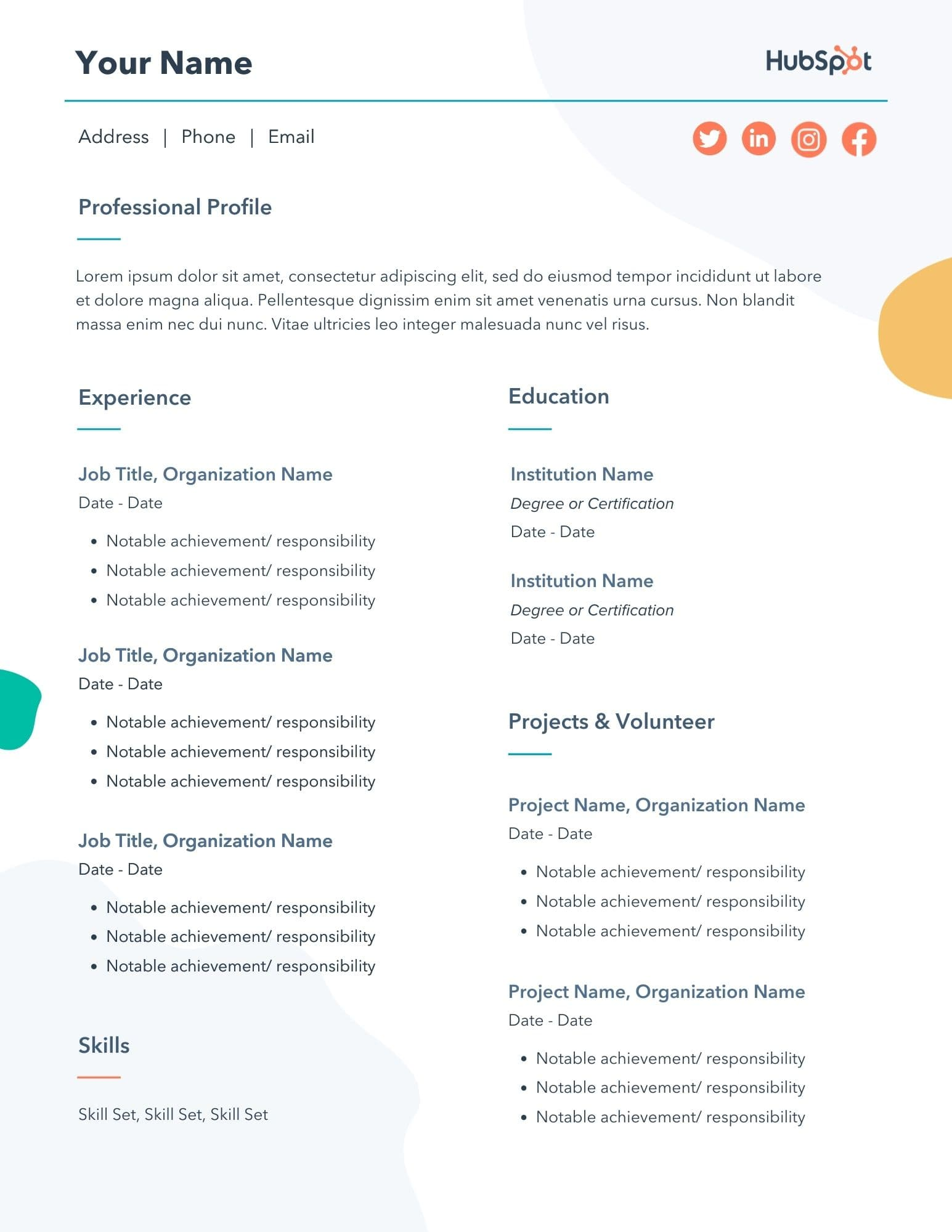 free marketing resume templates samples for template one job history new accounting Resume Resume Template For One Job History