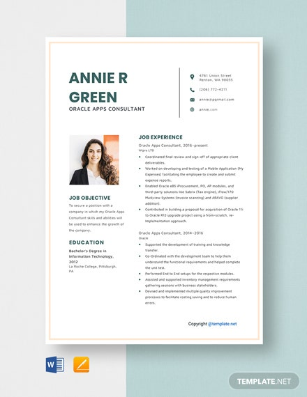 free oracle apps consultant resume cv template word apple mac job summary examples Resume Oracle Consultant Resume
