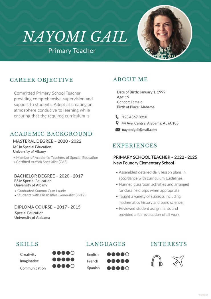 free primary teacher resume cv template in photoshop and microso creativebooster school Resume Primary School Student Resume