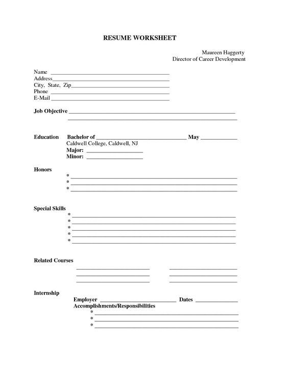 free printable blank resume forms career termplate builder form templates sheets to fill Resume Resume Sheets To Fill In