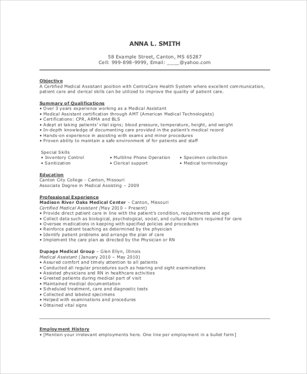 free resume objective samples in pdf ms word for healthcare workers medical assistant Resume Resume Objective For Healthcare Workers