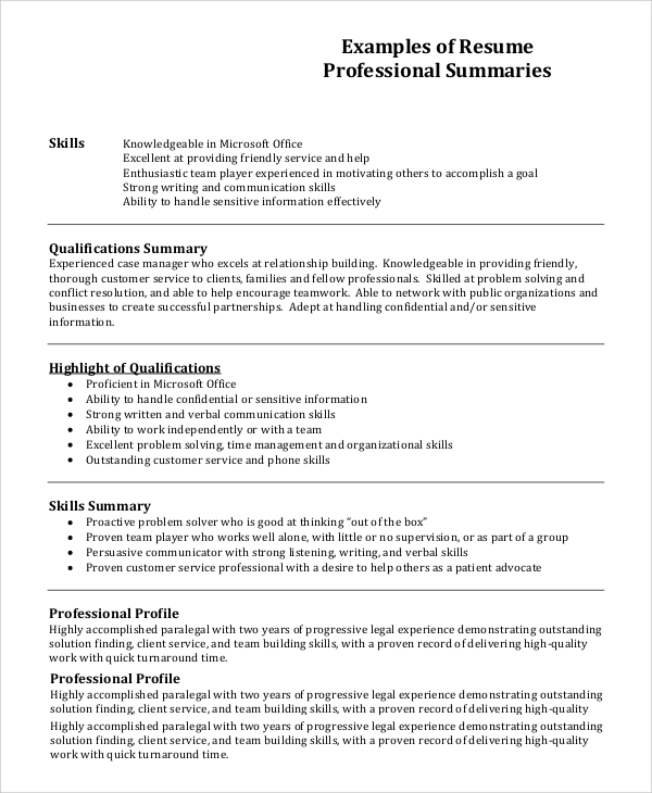 free resume profile samples in pdf ms word good for examples professional example1 law Resume Good Profile For Resume Examples