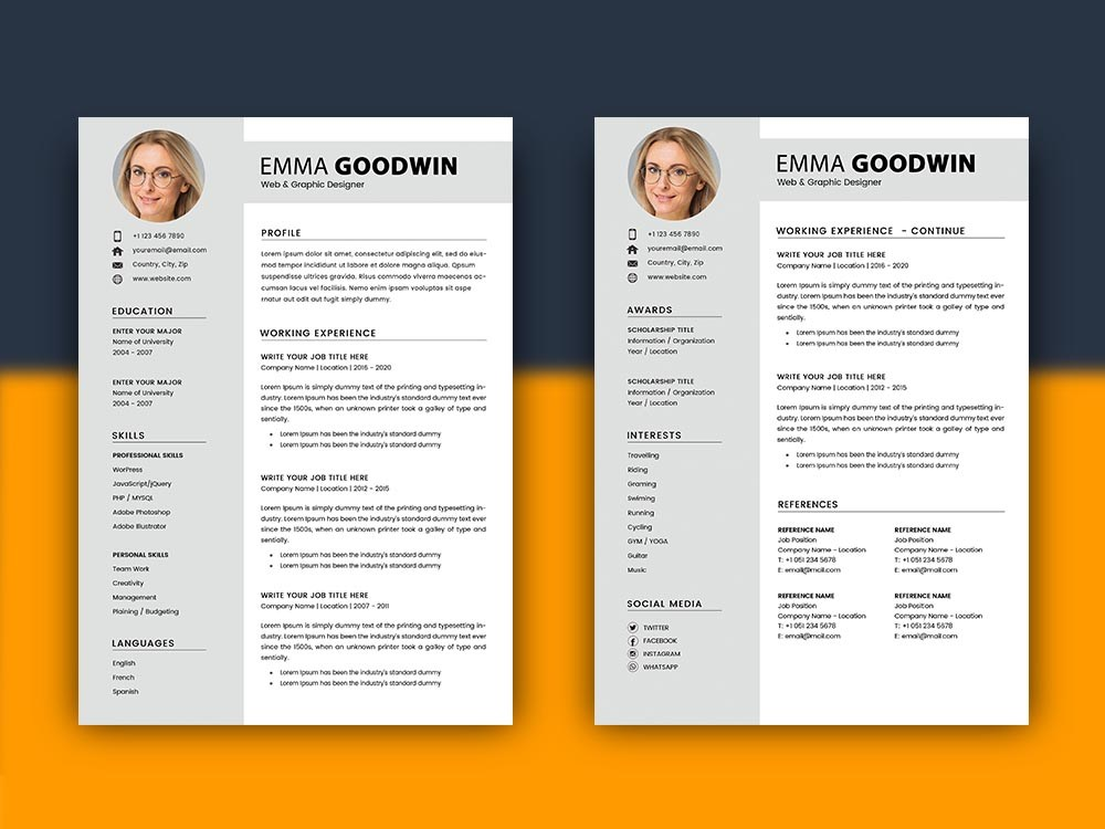 free resume template with matching cover letter design format simple employment mwd field Resume 2 Page Resume Format