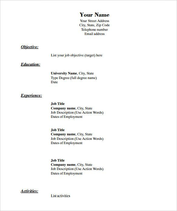 free resume templates blank printable basic downloadable template pdf paper for interview Resume Free Resume Templates Pdf