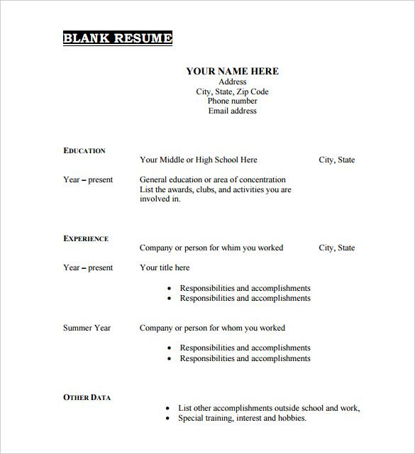 free resume templates blank printable downloadable template pdf objective for plant Resume Free Resume Templates Pdf