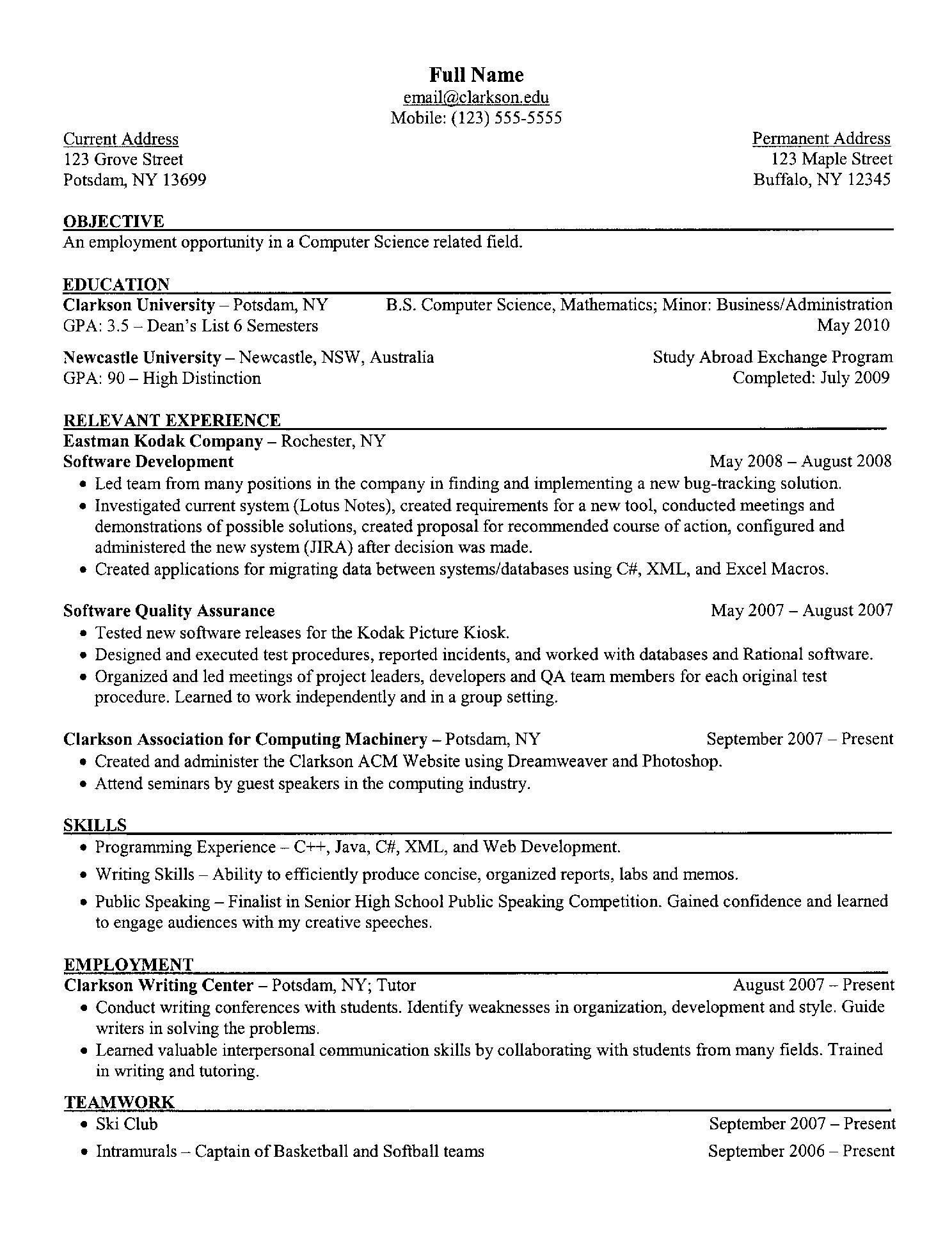 free resume templates computer science skills college examples template theatrical Resume Computer Science Resume Template