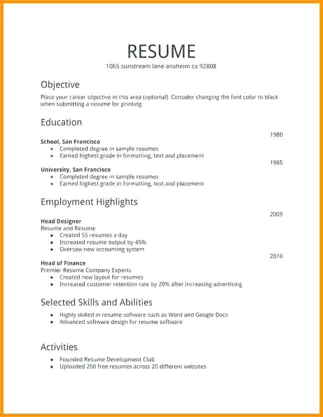 free resume templates first job examples simple format for computer system administrator Resume Resume Format For First Job