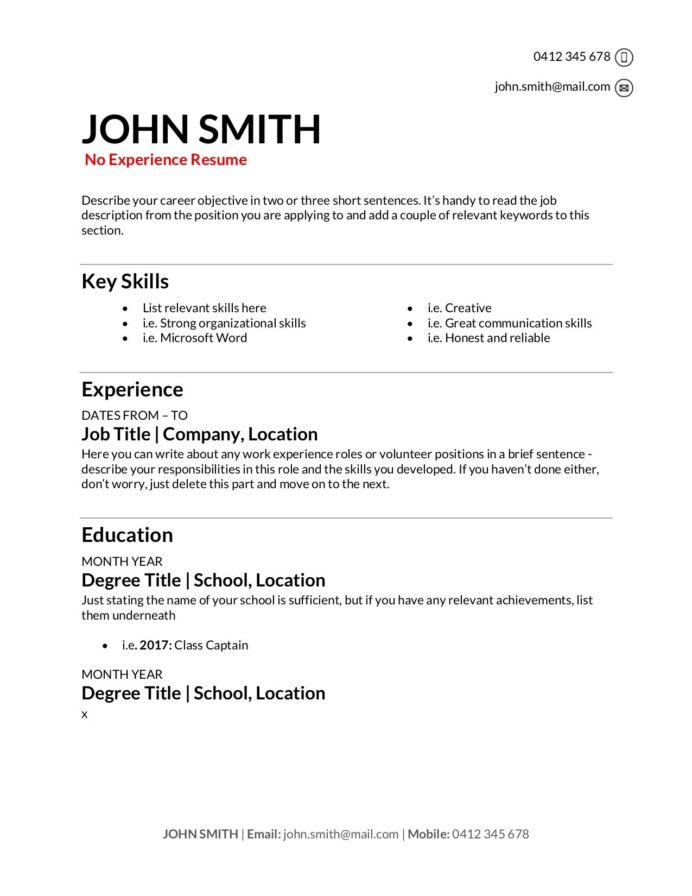 free resume templates to write in training au first job layout no experience editable Resume First Job Resume Layout