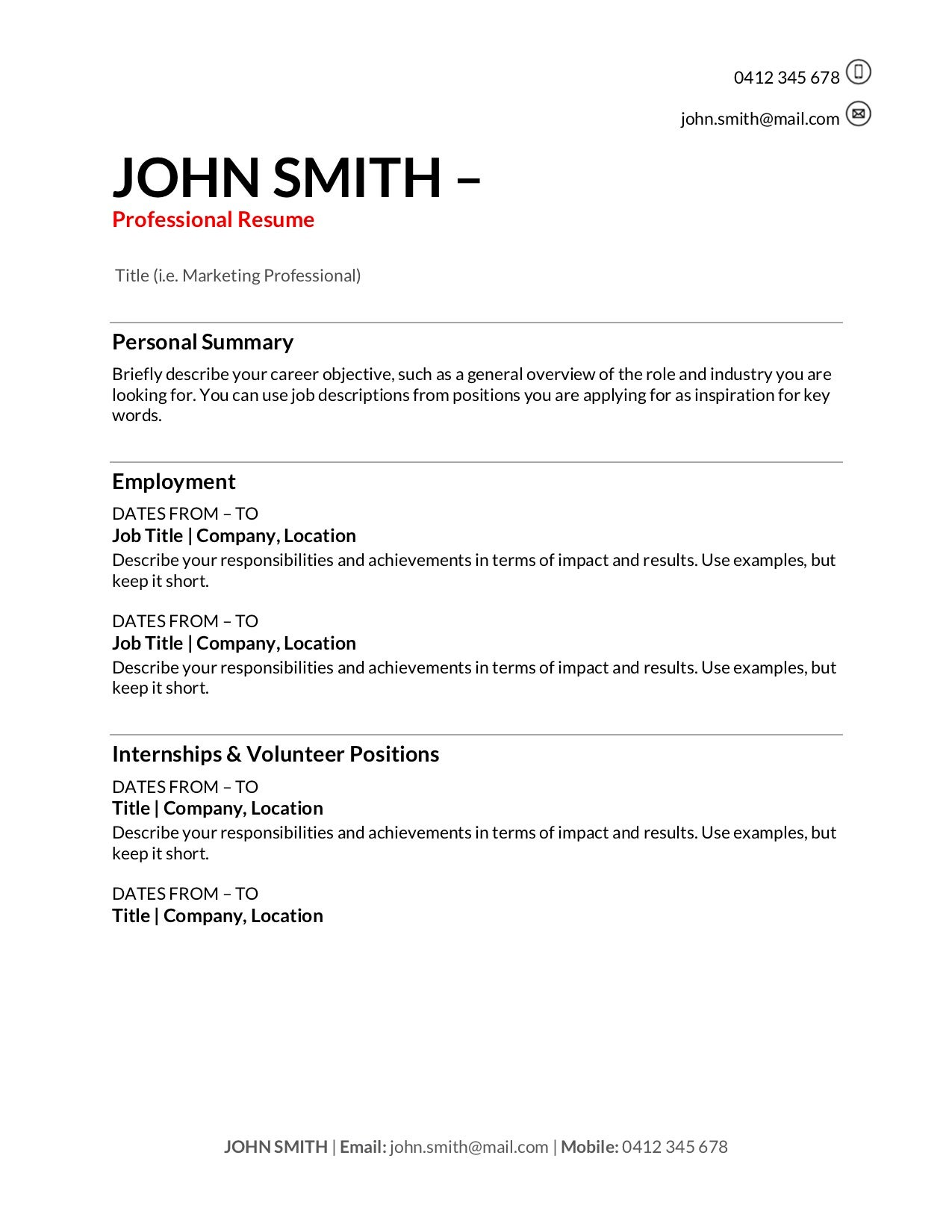 free resume templates to write in training au with one term job corporate recruiter Resume Resume With One Long Term Job