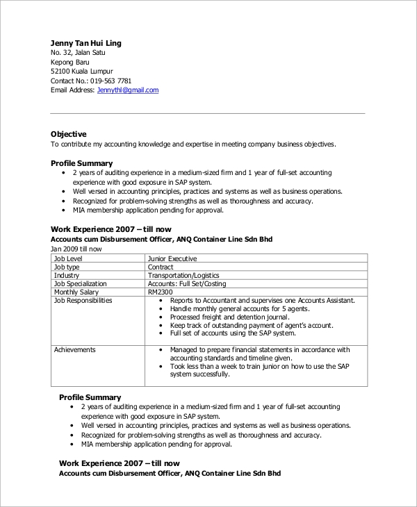 free sample accountant resume templates in ms word pdf format for accounts executive Resume Resume Format For Accounts Executive Free Download