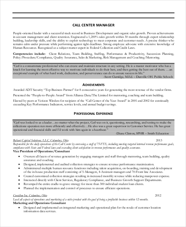 free sample call center resume templates in ms word pdf examples manager beacon reviews Resume Call Center Resume Examples