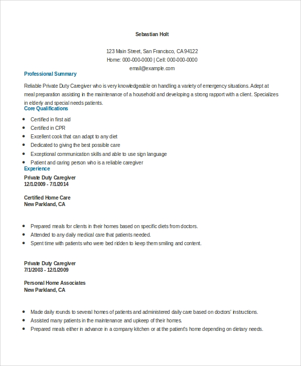 free sample caregiver resume templates in ms word pdf duties and responsibilities private Resume Caregiver Duties And Responsibilities Resume