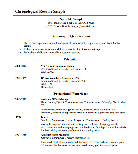 free sample chronological resume templates in pdf ms word reverse template layout python Resume Reverse Chronological Resume Template Download