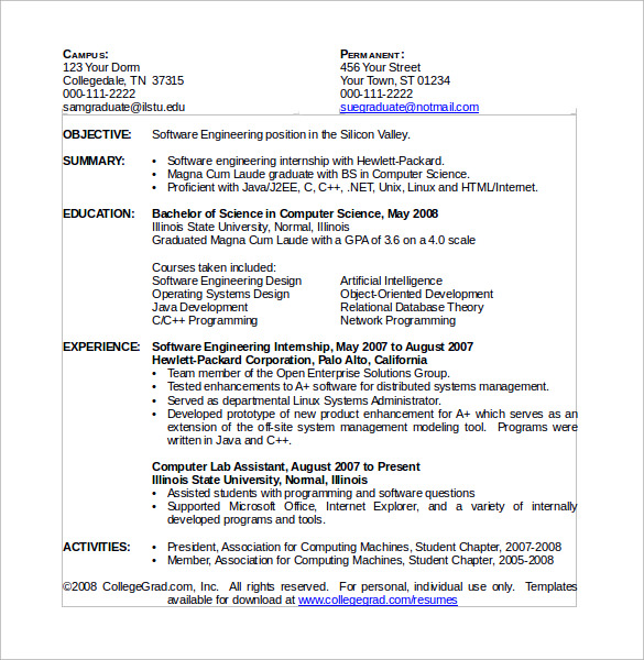 free sample computer science resume templates in pdf ms word template better policy Resume Computer Science Resume Download