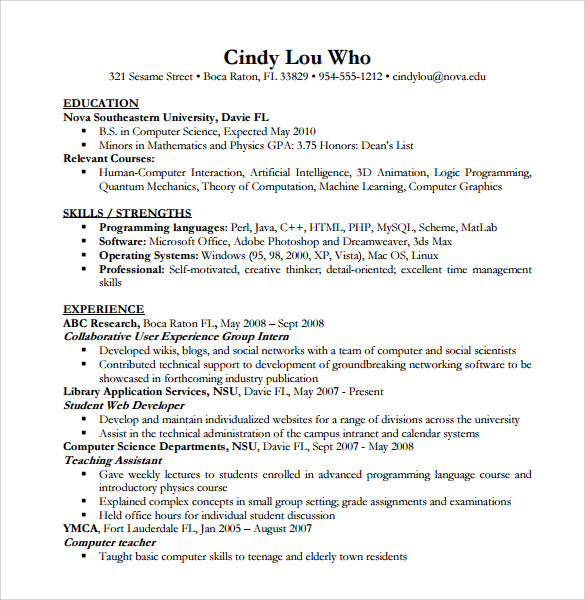 free sample computer science resume templates in pdf ms word template of assignment on Resume Computer Science Resume Template