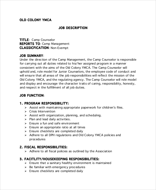 free sample counselor job description templates in pdf junior summer for resume ymca hdfc Resume Junior Counselor Summer Camp Job Description For Resume
