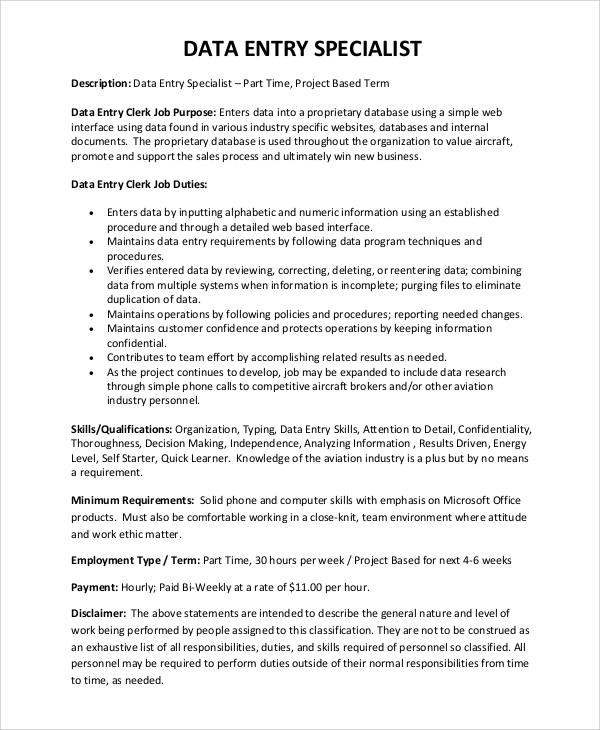 free sample data entry resume templates in pdf ms word publisher typing resumes for job Resume Typing Resumes For A Job