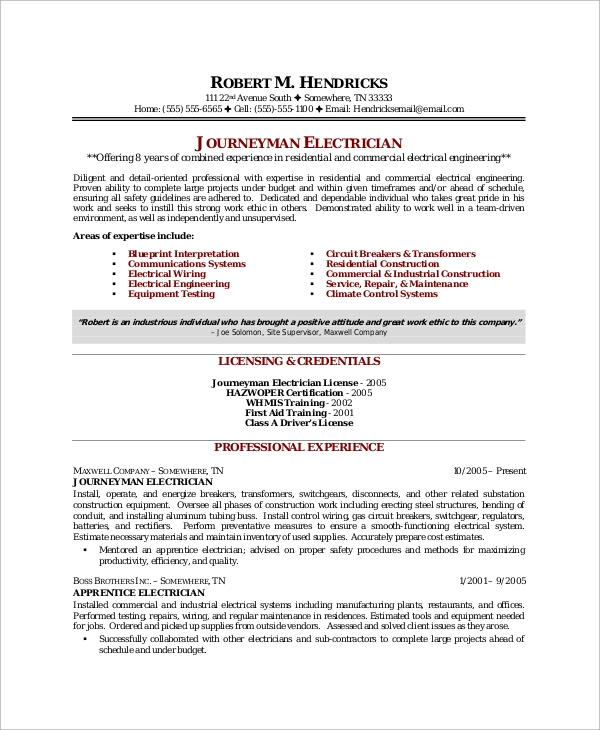 free sample electrician resume templates in ms word pdf best electrical supervisor Resume Best Electrical Supervisor Resume Sample