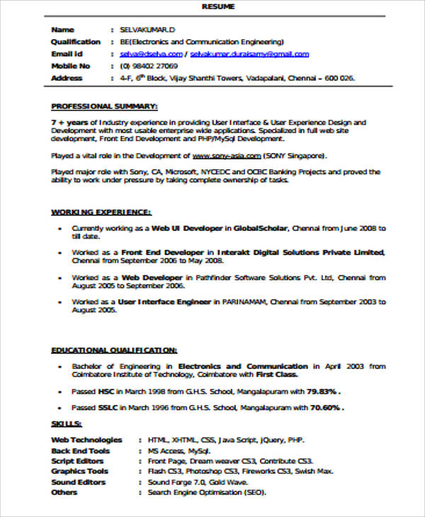free sample front end developer resume templates in ms word pdf for web fresher example Resume Sample Resume For Web Developer Fresher