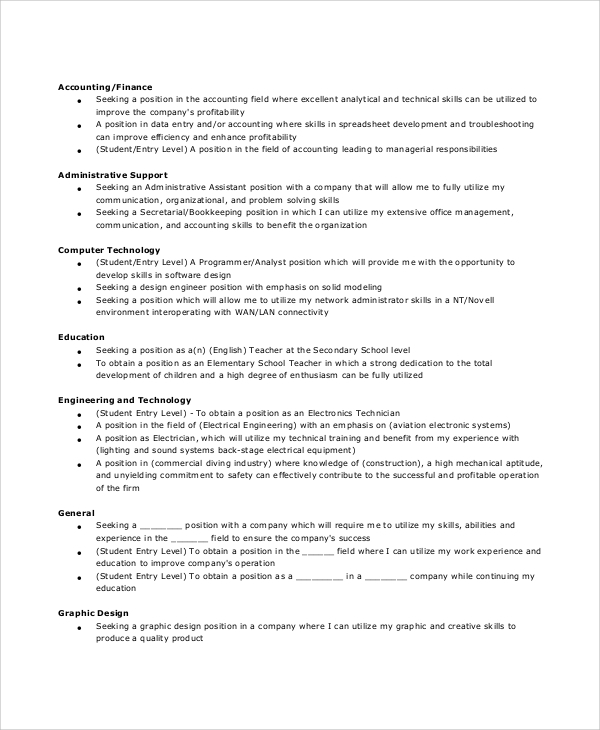 free sample general resume objective templates in pdf ms word statements for accounting Resume Resume Objective Statements For Accounting