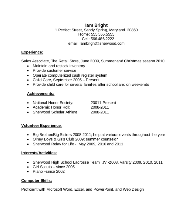 free sample high school cv templates in ms word pdf student resume for college with Resume High School Student Resume For College
