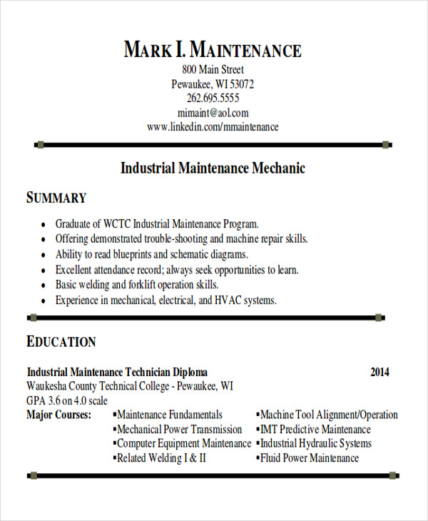 free sample maintenance technician resume templates in ms word pdf for position Resume Resume For Maintenance Position