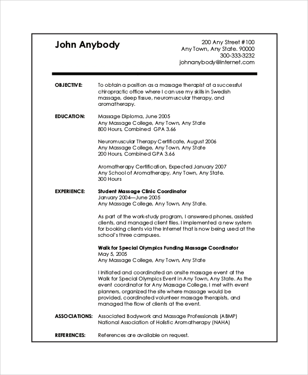 free sample massage therapist resume templates in pdf template experienced customer Resume Free Massage Therapist Resume Template