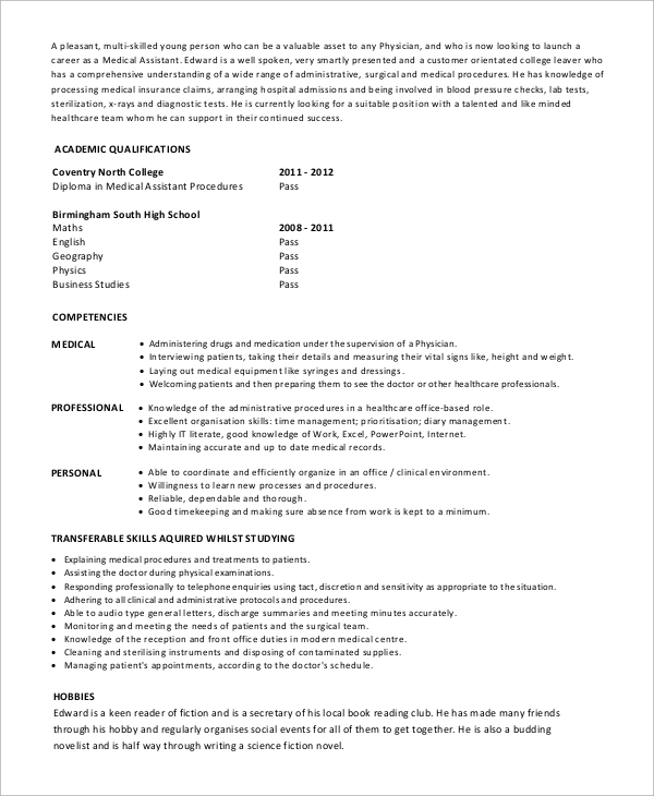 free sample medical assistant resume templates in pdf ms word entry level healthcare Resume Entry Level Resume Template