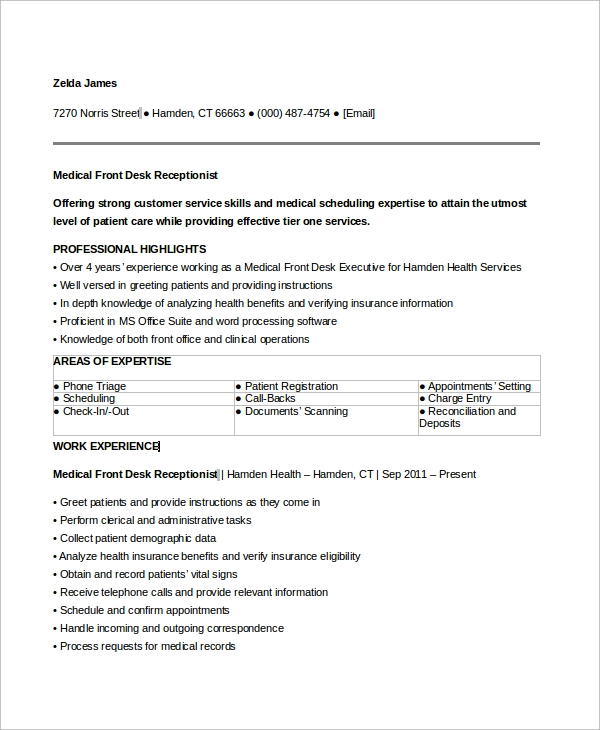 free sample medical receptionist resume templates in ms word pdf front desk job personal Resume Front Desk Job Resume