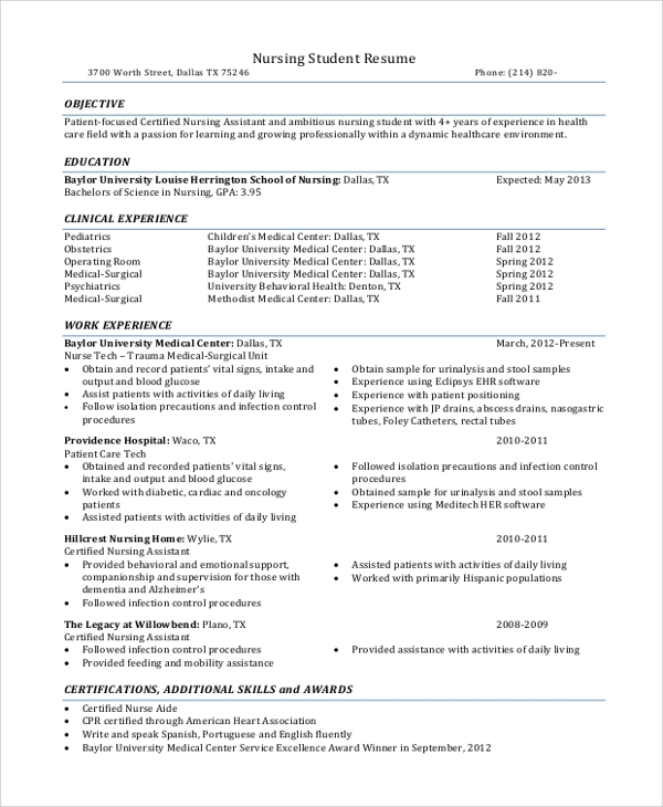 free sample nursing student resume templates in ms word pdf with no experience clinical Resume Nursing Student Resume With No Experience