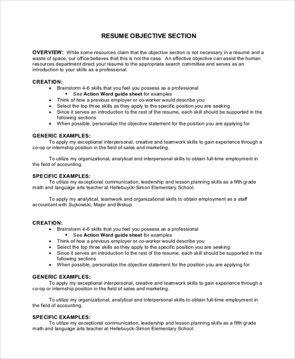 free sample objectives in pdf ms word resume objective statements for accounting section Resume Resume Objective Statements For Accounting