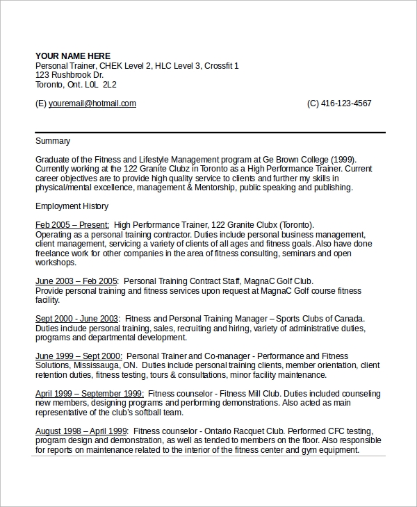 free sample personal trainer resume templates in ms word pdf format for fresher gym Resume Resume Format For Fresher Gym Trainer