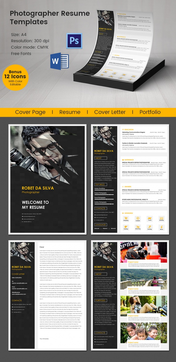 free sample photographer resume templates in pdf ms word template order of sections Resume Photographer Resume Template Free