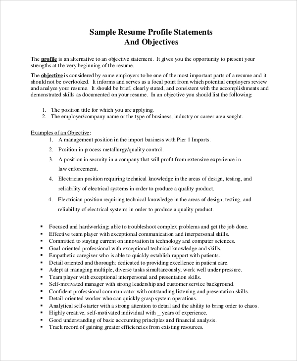 free sample resume objective templates in pdf ms word statement examples oracle database Resume Resume Objective Statement Examples