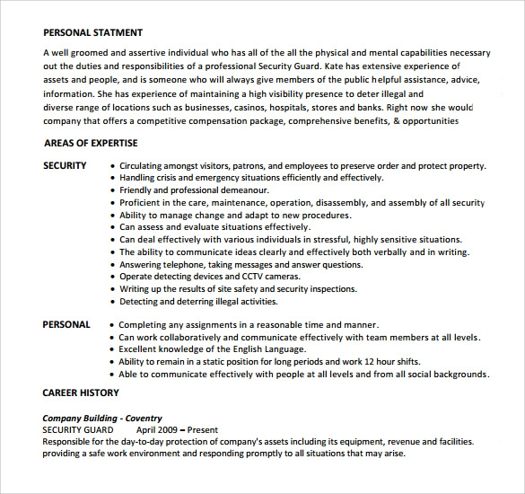 free sample security guard resume templates in pdf ms word format comp sci best font for Resume Free Security Resume Templates