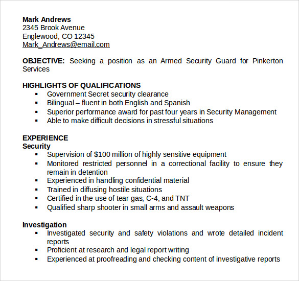 free sample security guard resume templates in pdf ms word microsoft executive template Resume Free Security Resume Templates