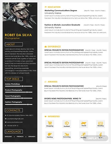 free senior photographer resume and cv template templates in word publishe good examples Resume Photographer Resume Template Free