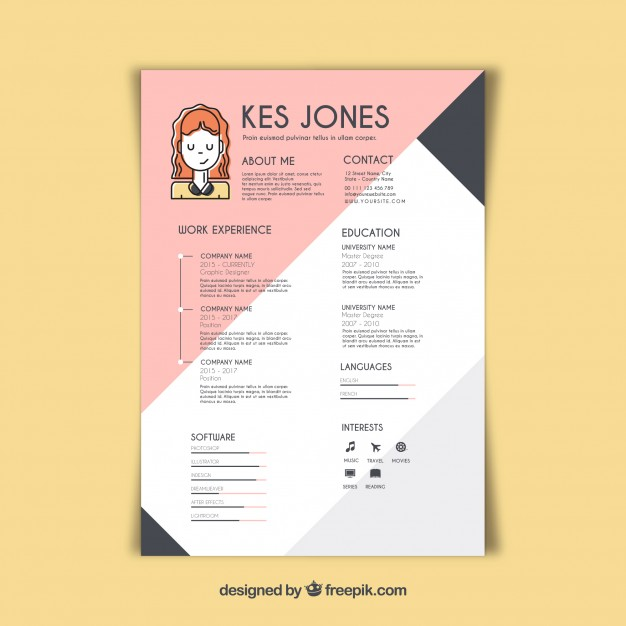 free vector graphic designer resume template sample korean format for experienced Resume Graphic Designer Resume Sample