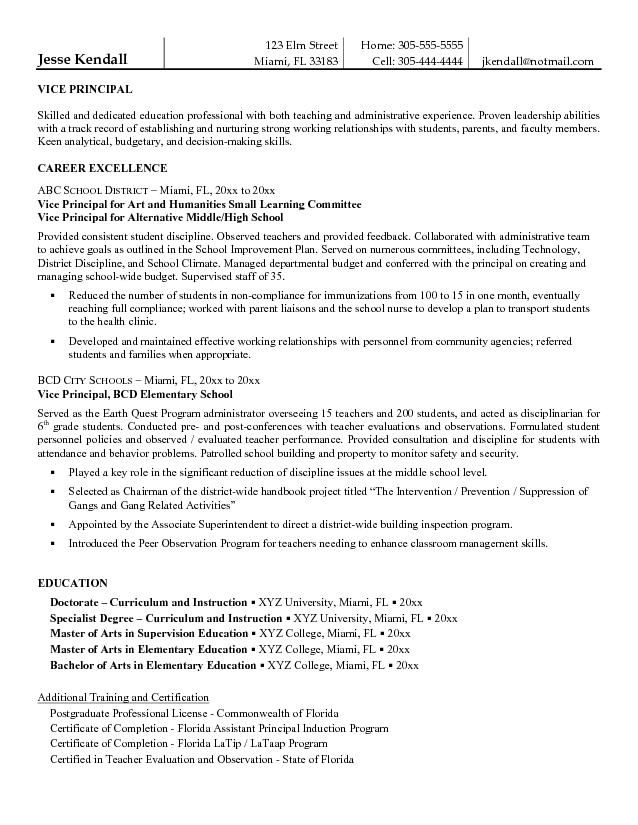 free vice principal resume example student template examples assistant sample security Resume Assistant Principal Resume Sample