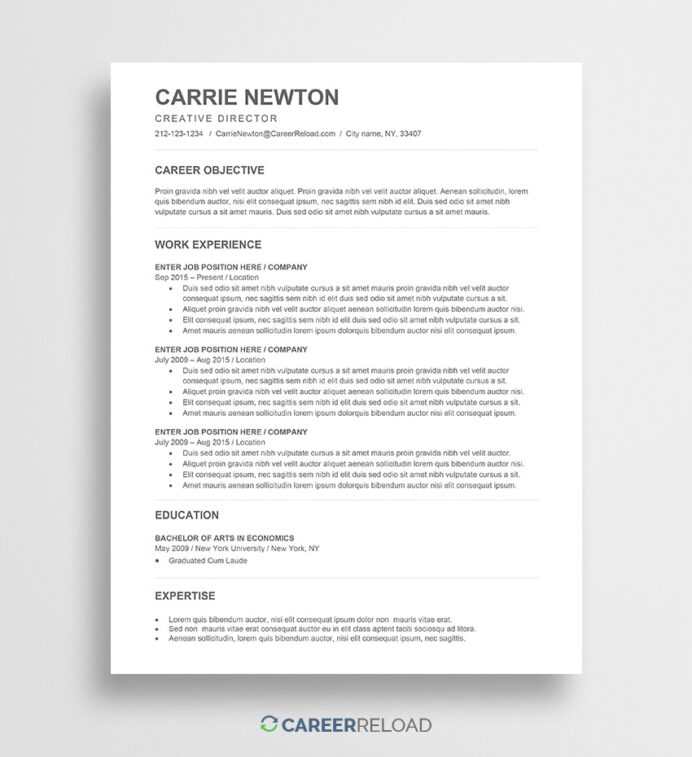 free word resume templates microsoft cv ats approved template carrie backstage example Resume Ats Approved Resume Templates